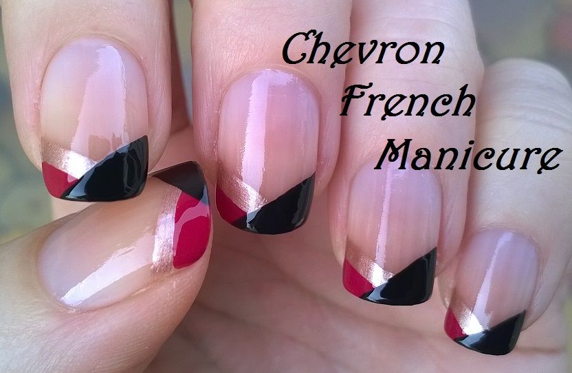 Easy chevron #Frenchmanicure design - No tool #nailart ! For more ...