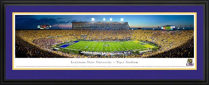 Louisiana State Tigers Framed Panoramic Poster Print - Tiger Stadium - Death Valley
