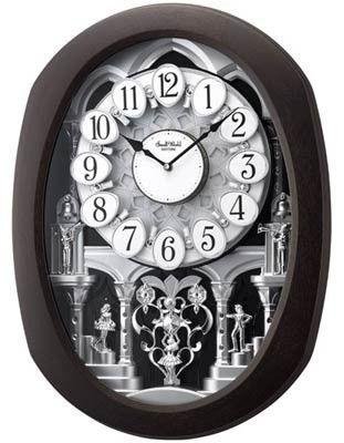 Rhythm Clocks Encore Espresso Magic Motion Musical Wall Clock 30 Melodies Rhythm Clocks Wall Clock Clock
