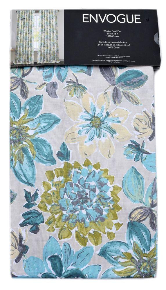 Envogue Floral Window Curtain Panels Set Of 2 Drapes Pair 96