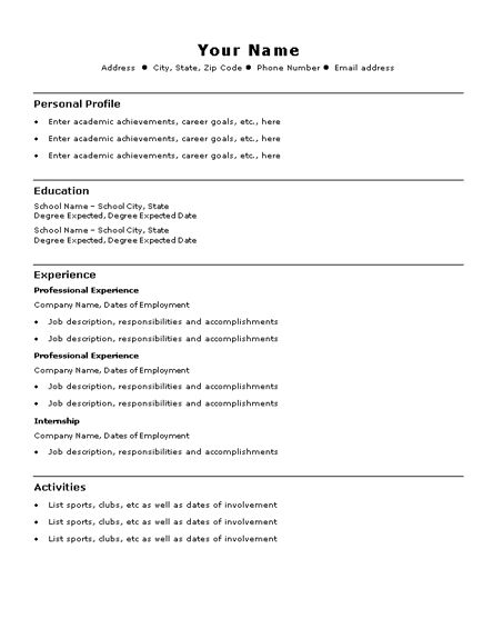 Easy Resume Samples Sample Basic Template Examples Success Simple