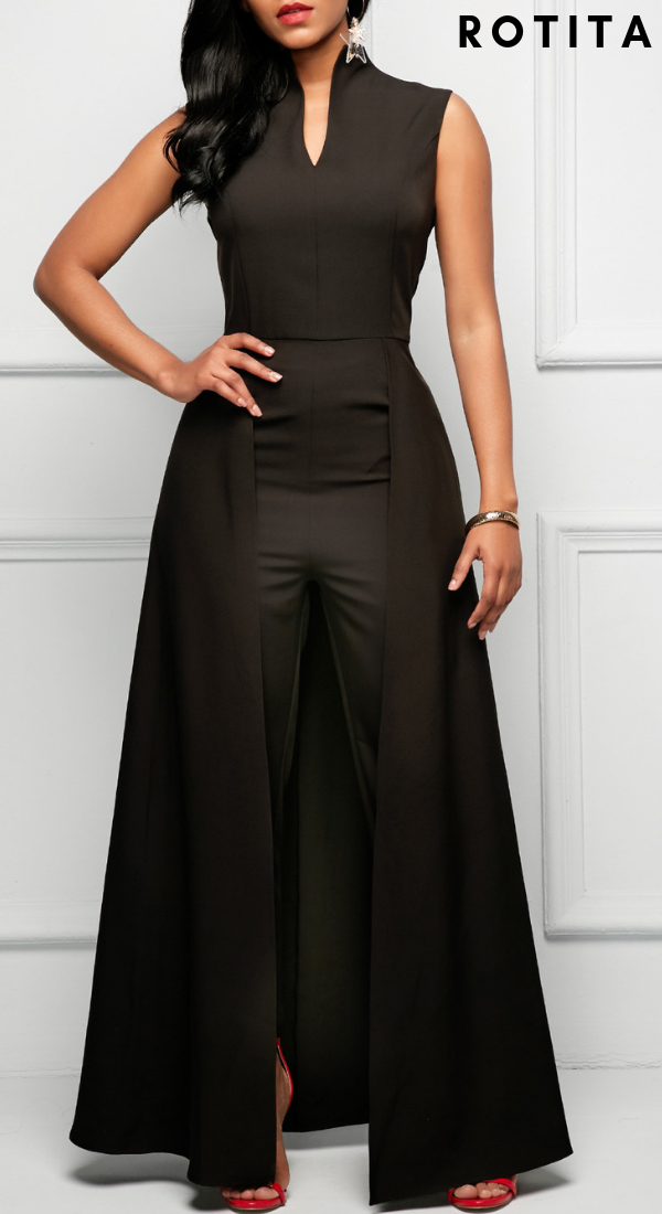 b441a145b83 ... Womens Fashion 1. Overlay Embellished Split Neck Black Jumpsuit .Casual  jumpsuit added these days