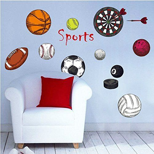 Amaonm removable sport ball toy games wall stickers decor diy basketball football tennis rugby peel and stick fun wall decals for kids bedroom playroom