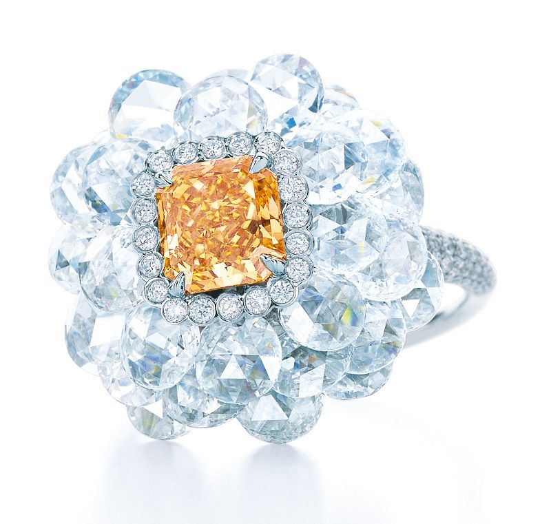 Tiffany & Co. Blue Book Collection Fancy Intense yellow orange diamond ring set in platinum.