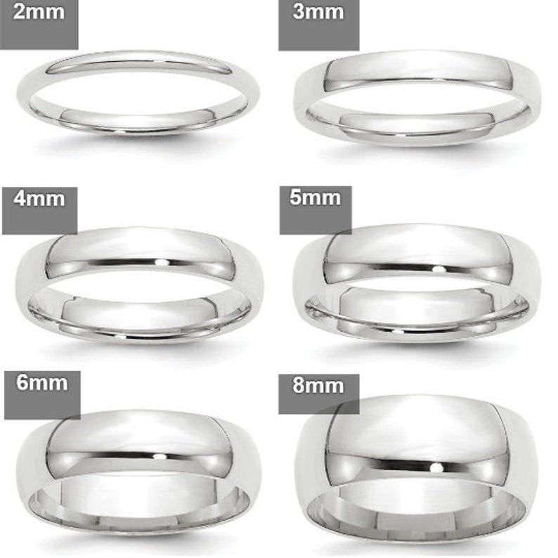 REAL Comfort Fit 14K Solid White Gold 2mm 3mm 4mm 5mm 6mm