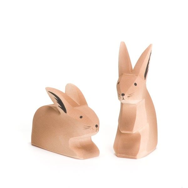 Let these two bunnies hop into your child's Easter basket and then into their heart. Hand-carved and painted by Engelberger in Germany.