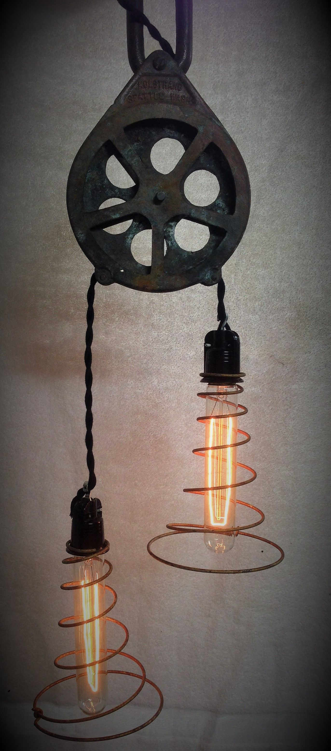 unique rustic lighting. Doesn\u0027t Get Much Cooler Than This Old Pulley Functioning Now As A Steampunk\u2026 Unique Rustic Lighting