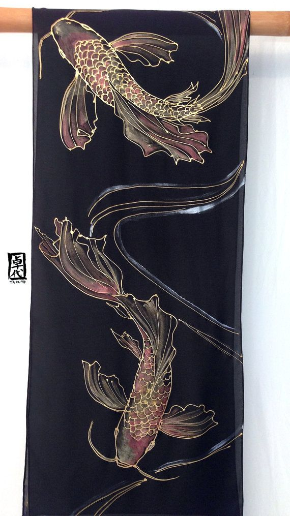 Black Silk Scarf Handpainted, Japanese Gold and Red Koi