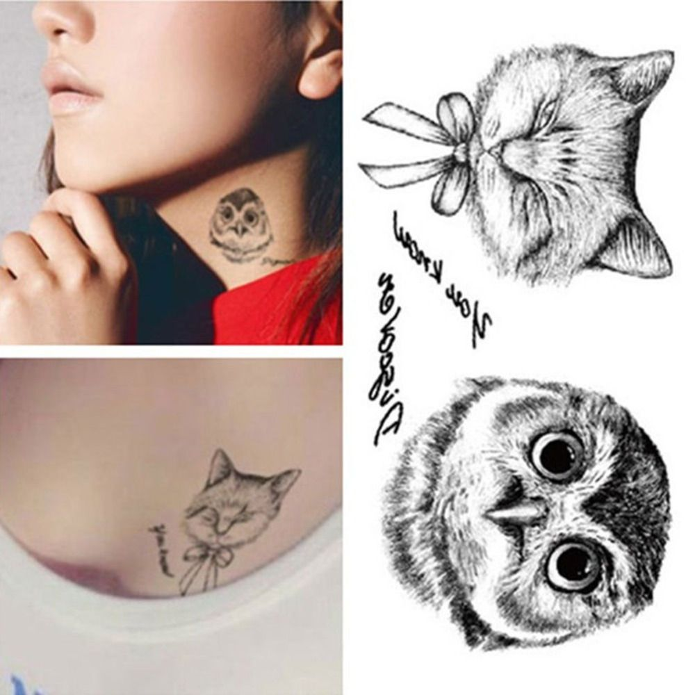 Black and white owl design fox tattoos waterproof temporary tattoo stickers tattoos for chest wrist black