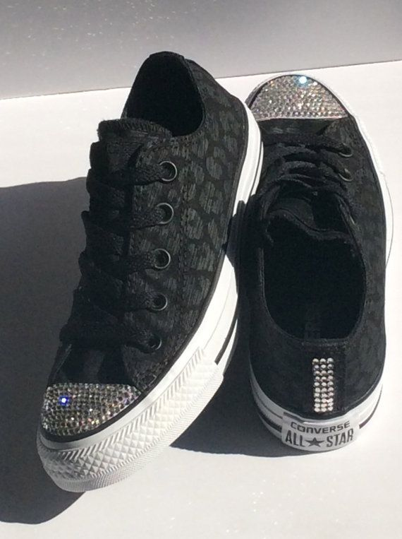 d807db9d3163  supercute - Cheetah Black Glitter Converse  Genuine by JezelleDesigns on  Etsy