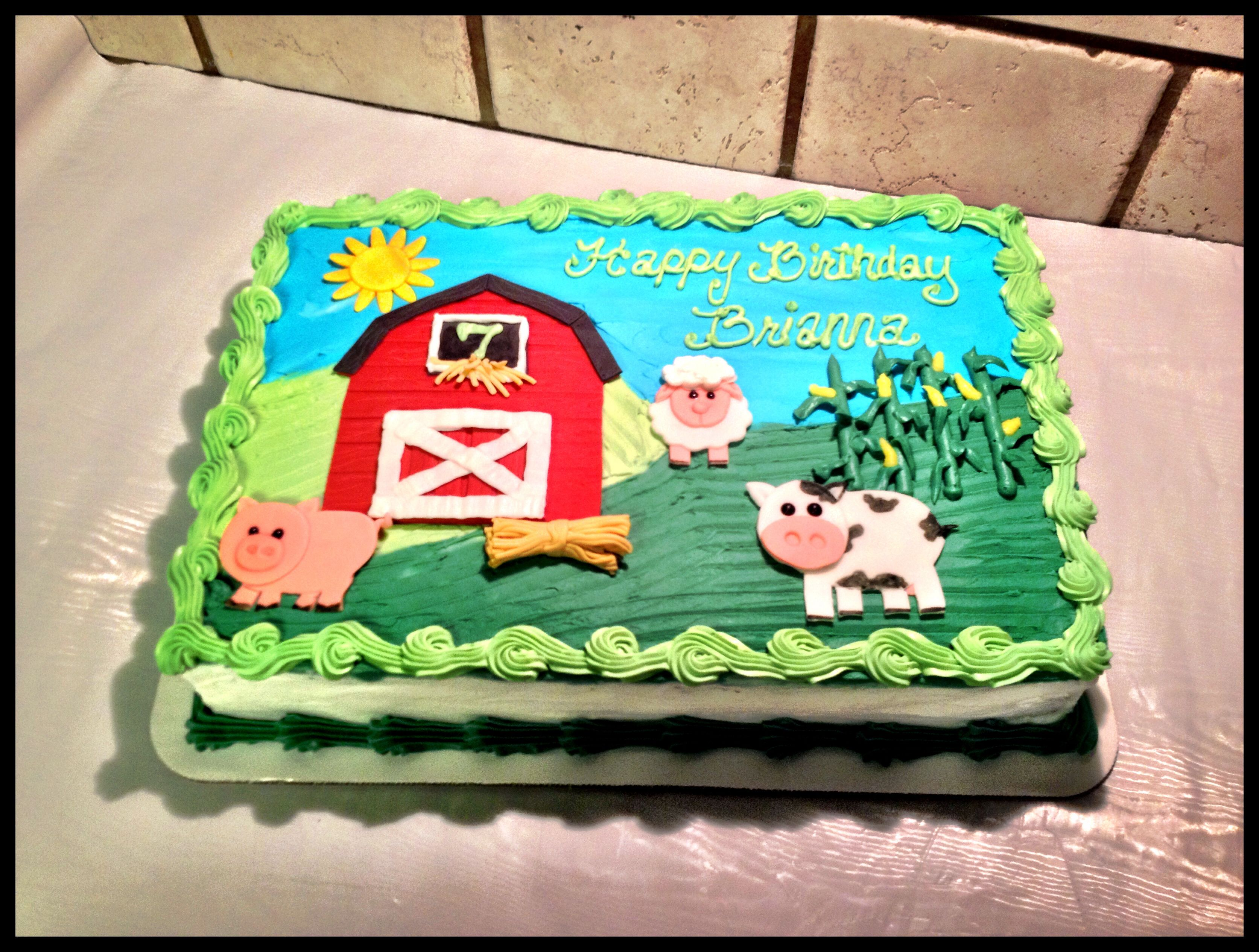 Farm Animal And Barn Sheet Cake With Images Farm Animal