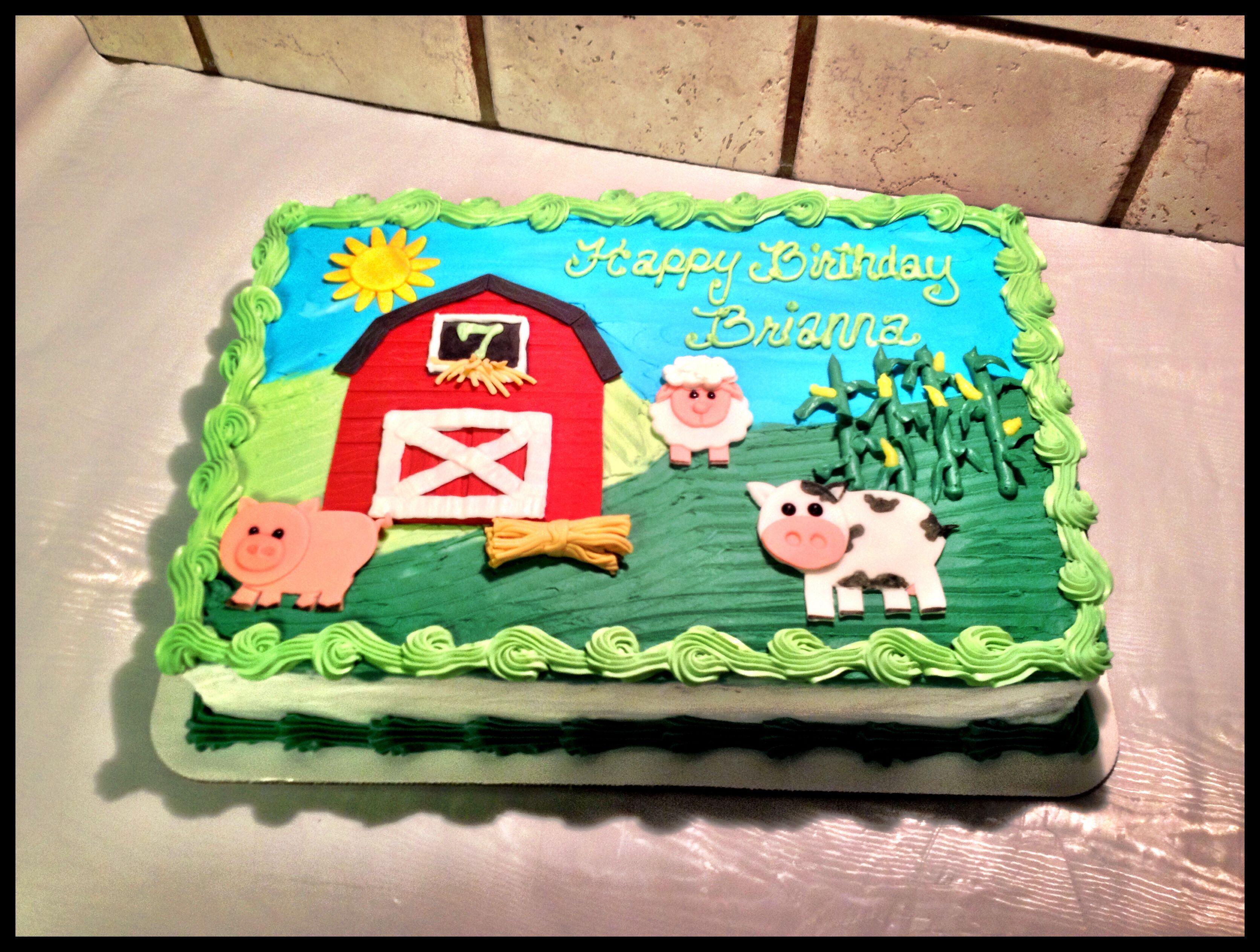 Farm Animal And Barn Sheet Cake