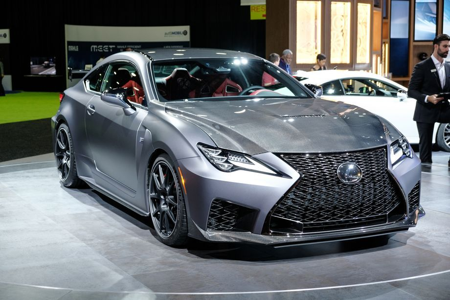 A 2020 Lexus RC F sits on the stage during the 2019 North