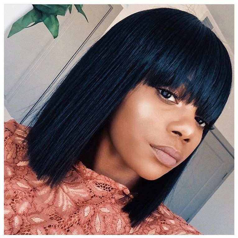 Beautiful Straight Bob With Bangs Wigs For Black Women Lace Front