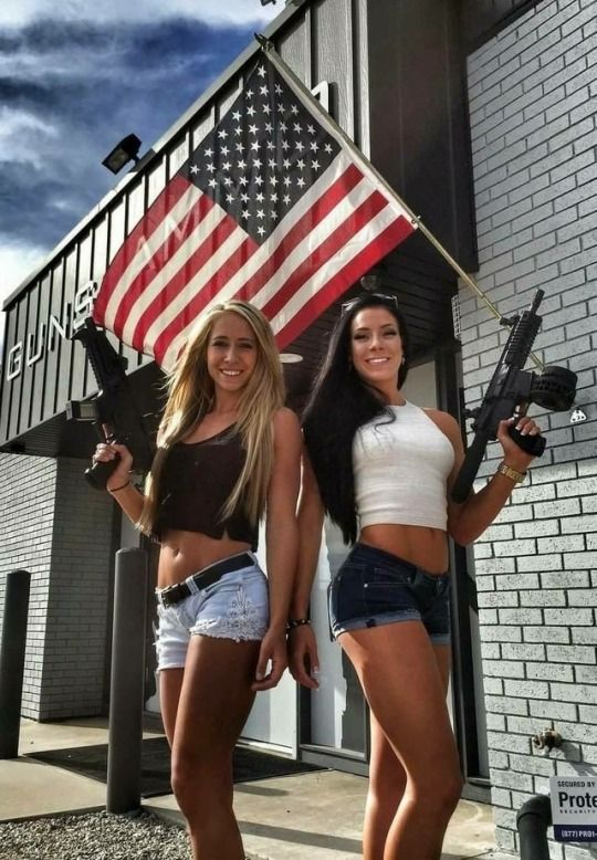 Busty hot chicks with guns