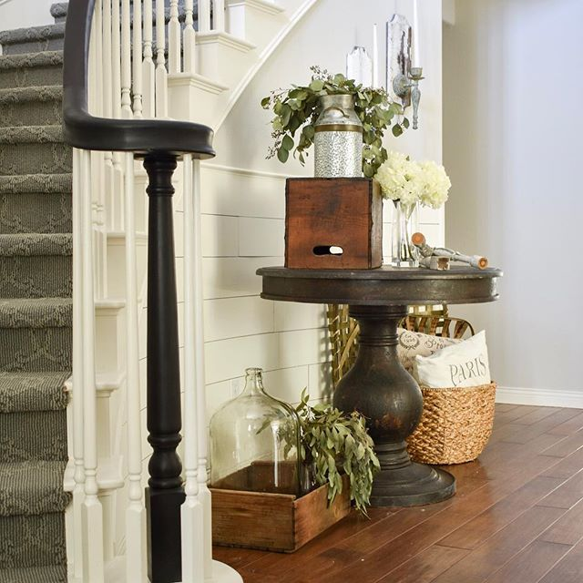 entryway, entry decor, curved stair case, pedestal table, farmhouse style decor, wood and white decor, shiplap, curved shiplap, diy shiplap, chalk painted bannister, entrance, formal entryway