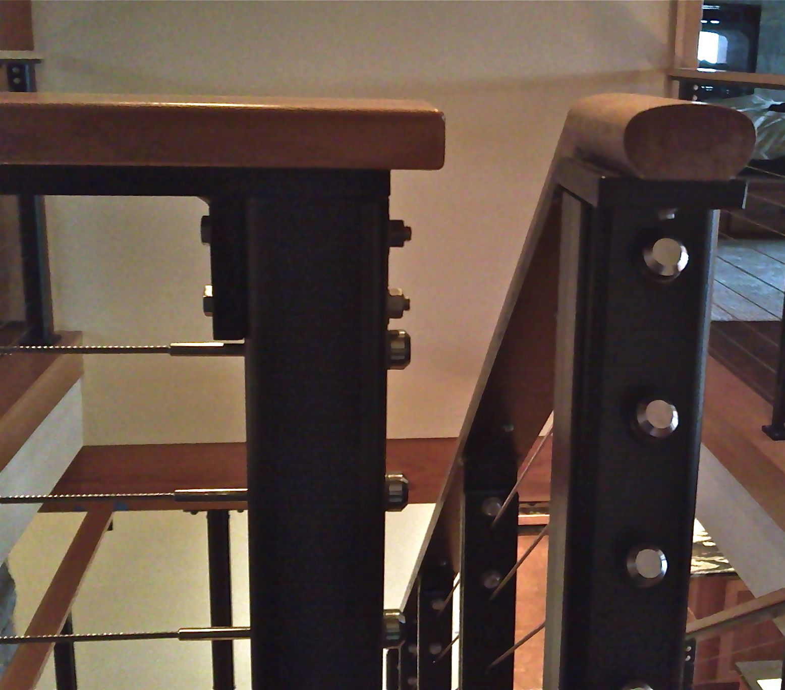 Custom cable rail with wood cap | Steel railing, Cable ...