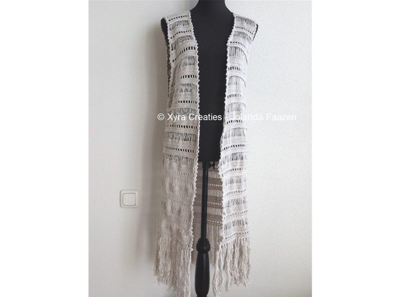 Favoriete PATR1075 - Xyra Crochet-pattern - Long gilet / vest without &NX84