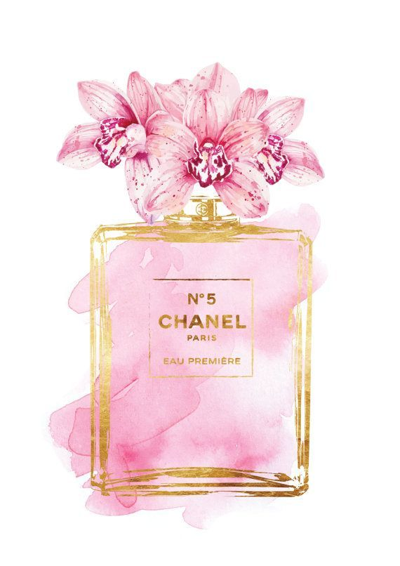 You Are Purchasing A Digital File Only Chanel No5 Print With Pink Orchids With Gold Effect The Go Chanel Art Fashion Art Prints Chanel Art Print