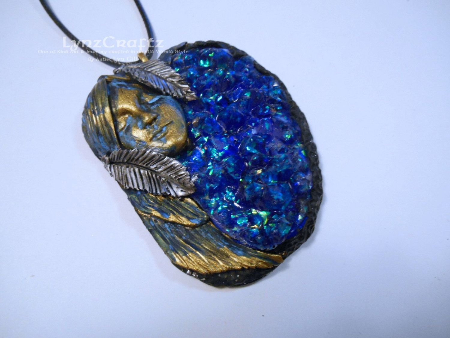 Spirit of the Stones gold & blue polymer clay and resin jewelry pendant necklace handmade One of a Kind by LynzCraftz on Etsy