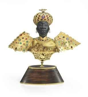 An Italian gold and gem-set ebony Blackamoor, Mark of Giulio Nardi, Venice, 20th Century