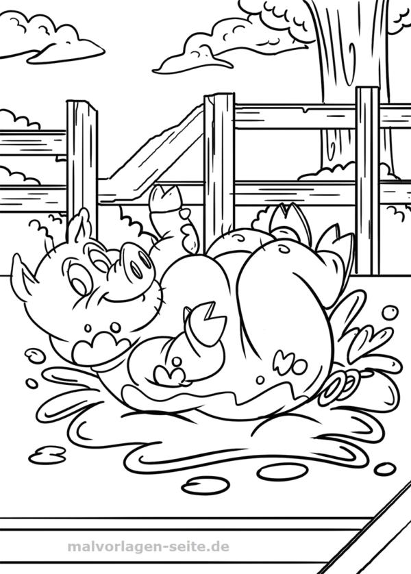 malvorlage schwein  tiere bauernhof  kostenlose