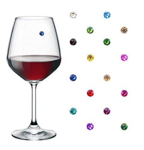Swarovski Crystal Magnetic Wine Glass Charms Set Of 16 Drink Markers For Stemless Red And White Wine Glasses Wine Glass Charms White Wine Glasses Wine Glass