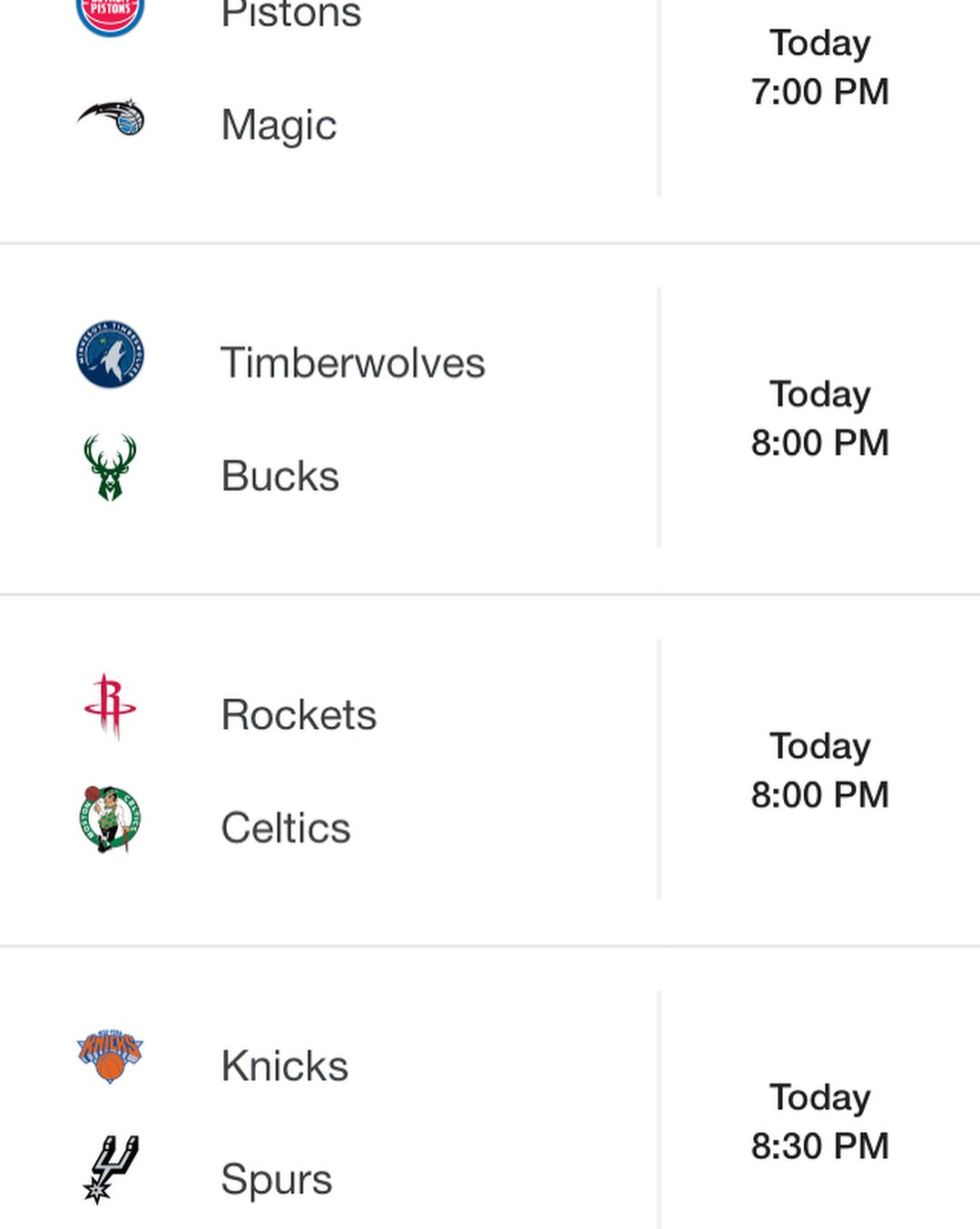 nba schedule for today! #nba #nbagames #nbaschedule #pistons #magic