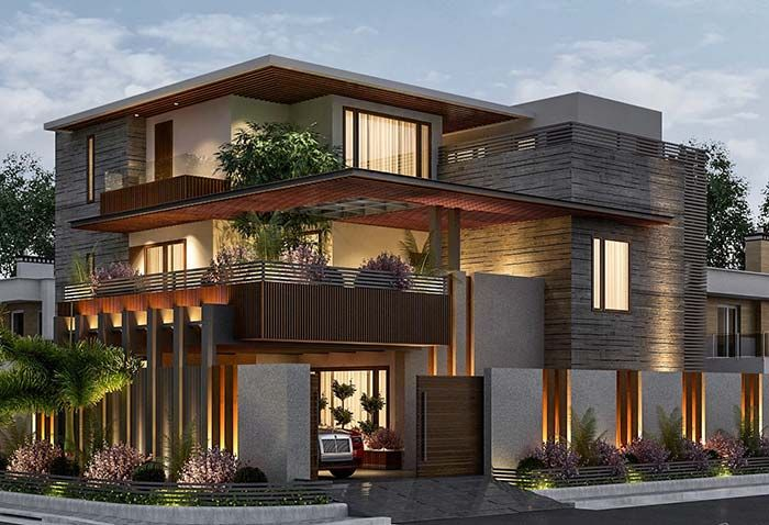 Fachada de casa com pedra pedra, madeira e uma fachada