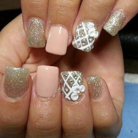 short full set with gel polish  3d design 30  gel nail
