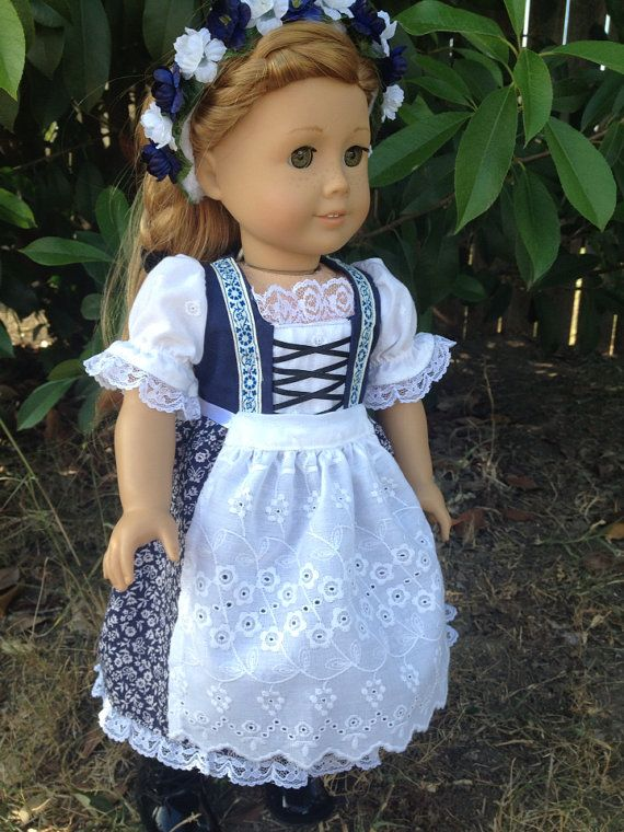 Blue dirndl  by LuLusPetalsTX on Etsy For people who don't sew (or who wish inspiration) this is also similar to the dirndl type of dress little Swiss girl Heidi might have worn.  Maybe not identical, but similar.
