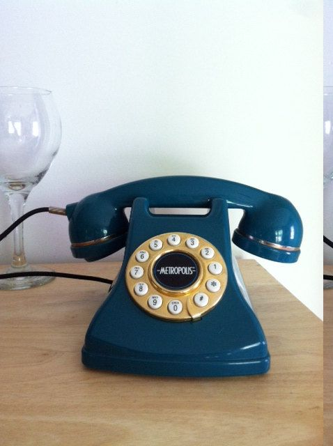 Teal Green Rotary- Style  Phone.