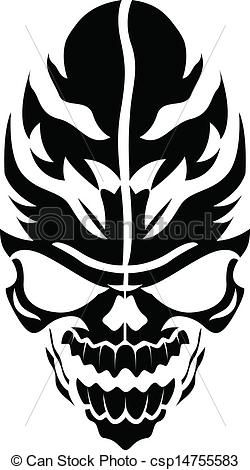 41a31a146 Tribal Skull Drawing Vector of tribal vector skull - drawing art of cartoon  scary
