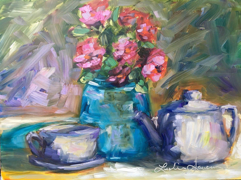 "Original 9x12 oil on panel ""Garden Tea"" Backyard Plein Air"