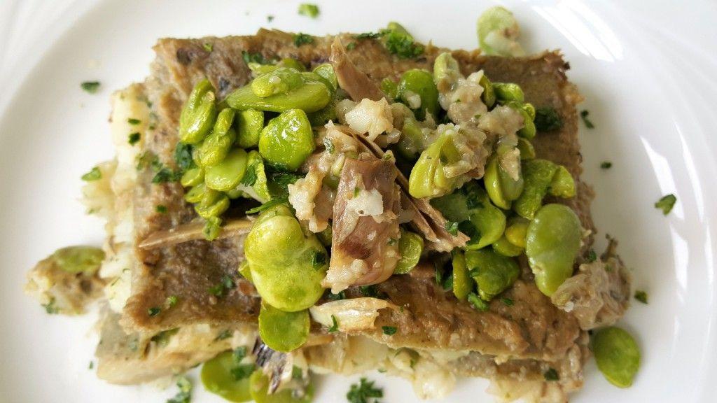 lasagne di fave all'ortica con baccalà e carciofi 4