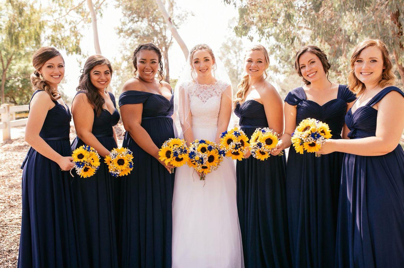 Navy blue bridesmaids dress sunflower wedding