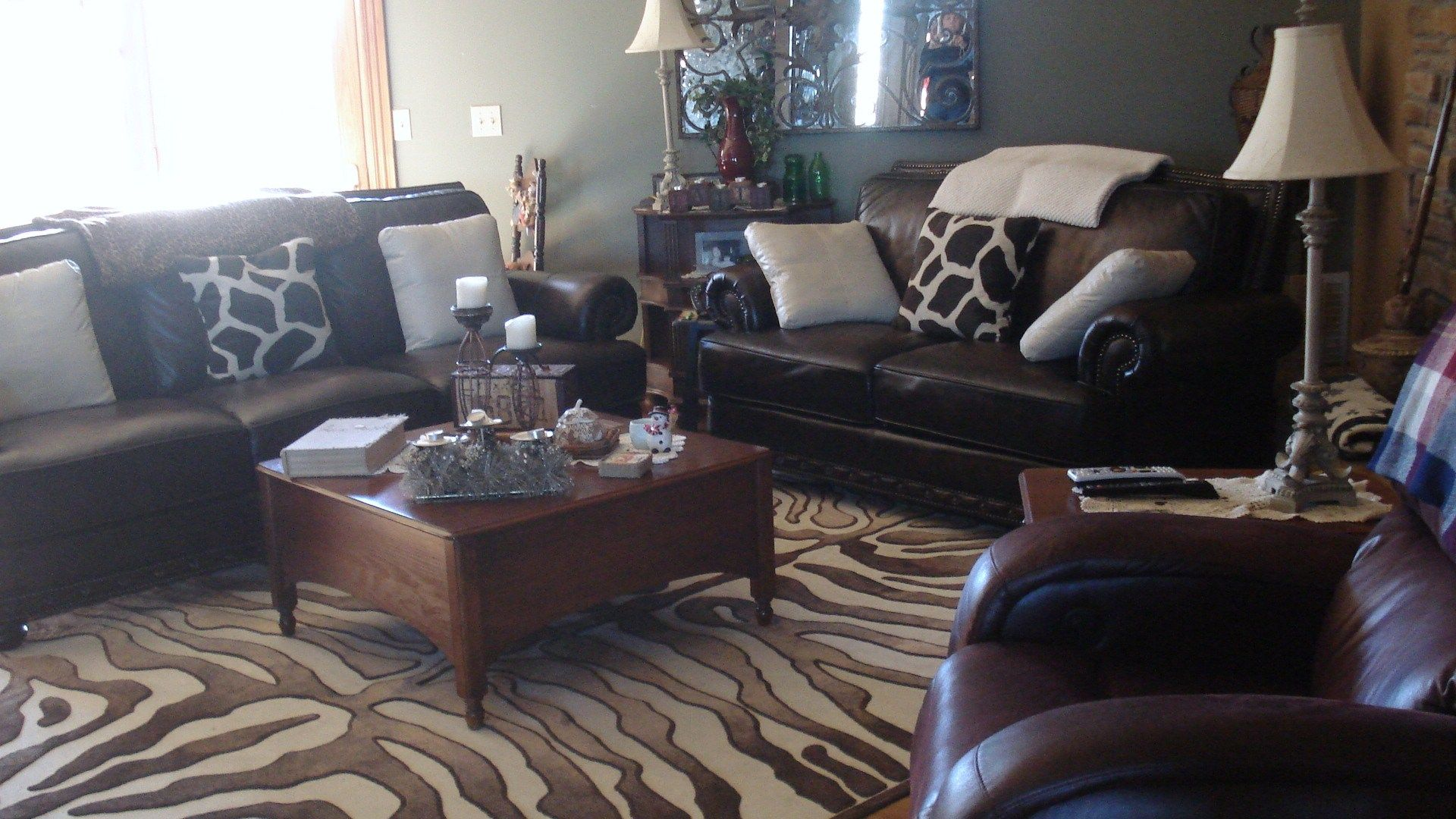 animal print living room beautiful living room patterned rug animal print ottoman blue walls i. Black Bedroom Furniture Sets. Home Design Ideas