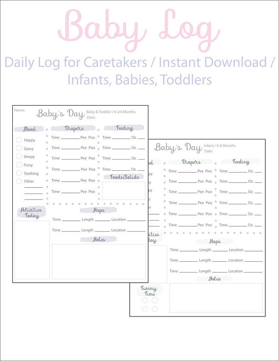 daily log for baby childcare log babies schedule instant download
