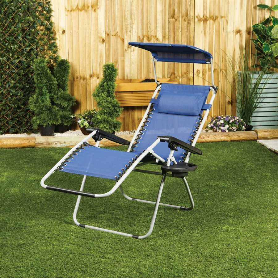 Zero Gravity Reclining Garden Chair With Table Canopy Sun Shade