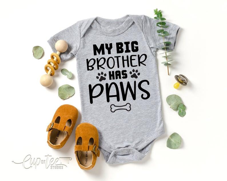 Baby Bib Funny Shower Gift My Big Sister Has Paws Baby Bib Baby Gift Dog Sibling