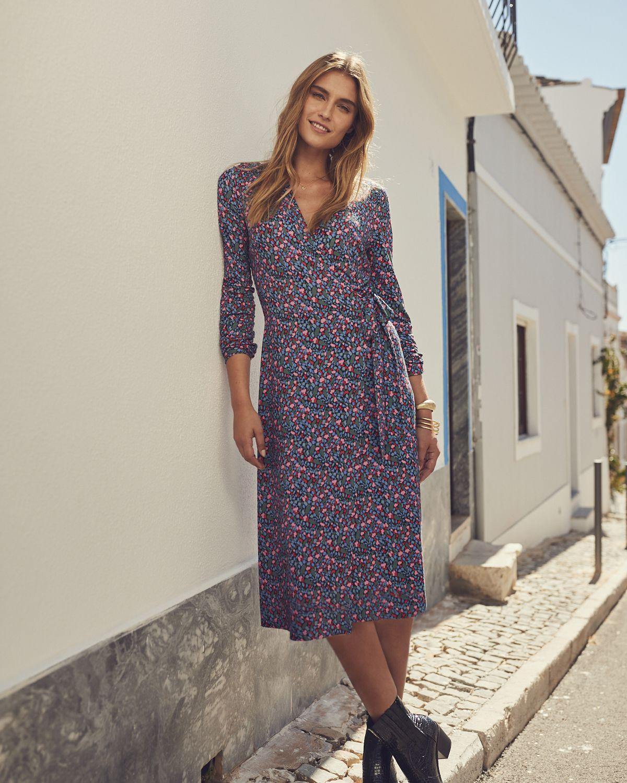 Tall Floral Print Jersey Wrap Dress Wrap Dress Clothing For Tall Women Jersey Wrap Dress [ 1500 x 1200 Pixel ]