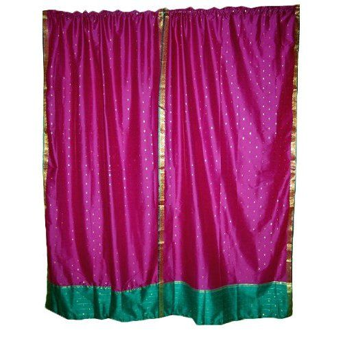 Amazon.com: India Curtains 2 Pink Art Silk Sari Drapes