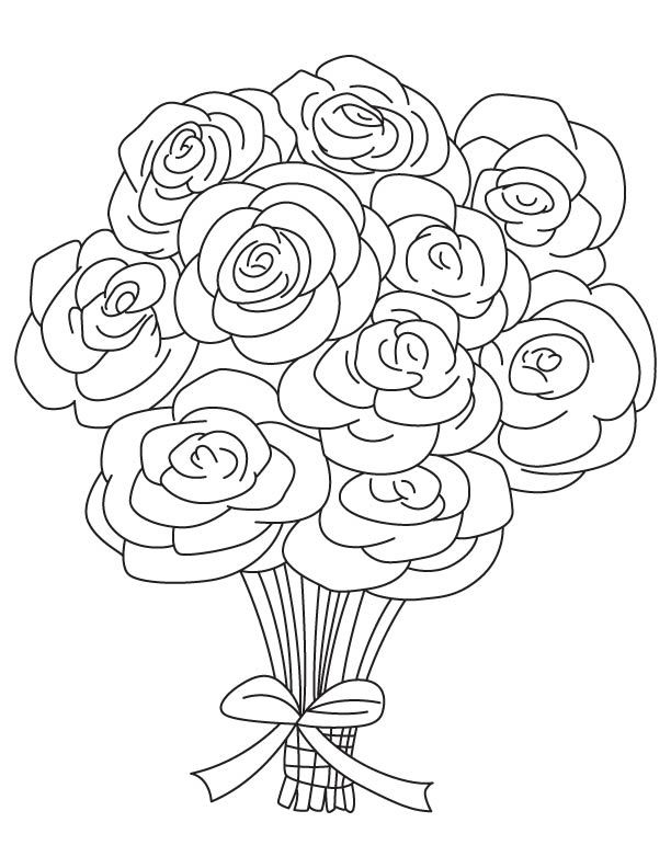 Rose bouquet coloring page | Things to color | Flower ...