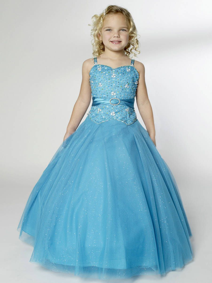 Princess Ruched V Neck Sweetheart Long Beaded Blue Girls Paceant ...