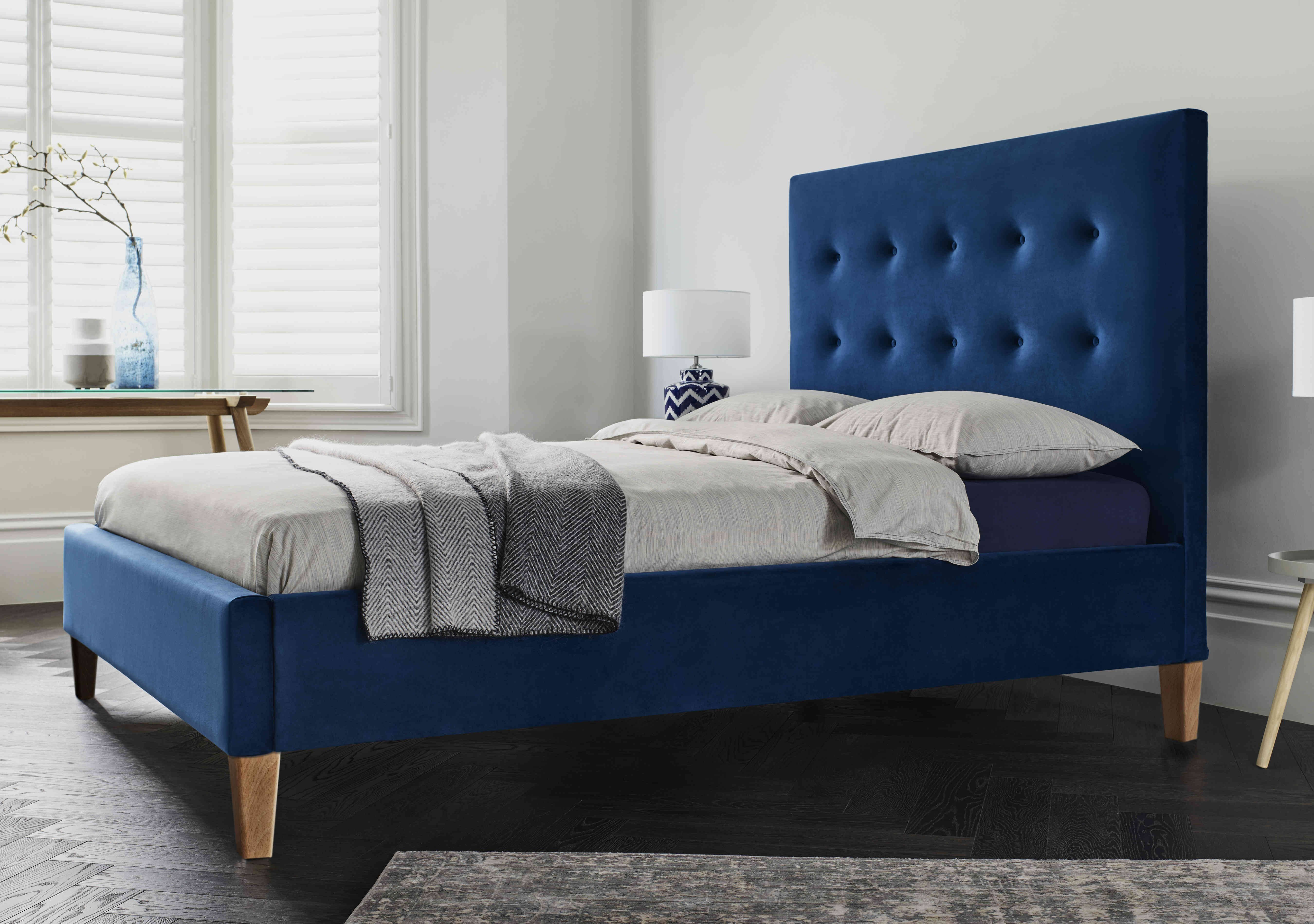 Classic But Contemporary The Maisie Low Foot End Navy Bed Frame