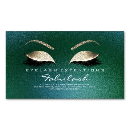 beauty salon gold glitter adress lashes tropical business card magnet metal style gift ideas unique diy personalize