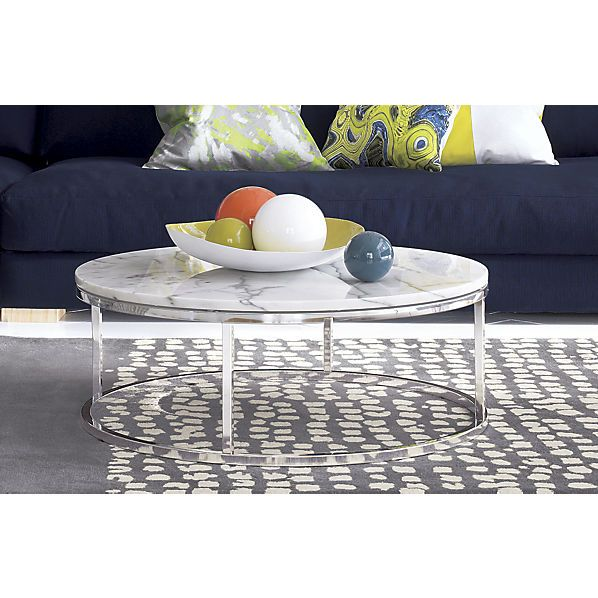 Smart Round Marble Top Coffee Table The Floor Polished Chrome And The Glass