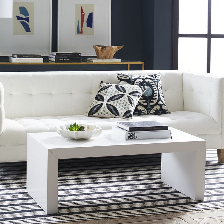 A Sleek Piece Suited To A Wide Range Of Designs This White Lacquer Coffee Table Offers A Simply Ele In 2020 Coffee Table Acrylic Coffee Table Living Room Coffee Table
