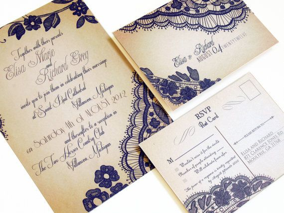 Elegant Lace Wedding invitations  Our signature by ABandIG on Etsy, $2.00
