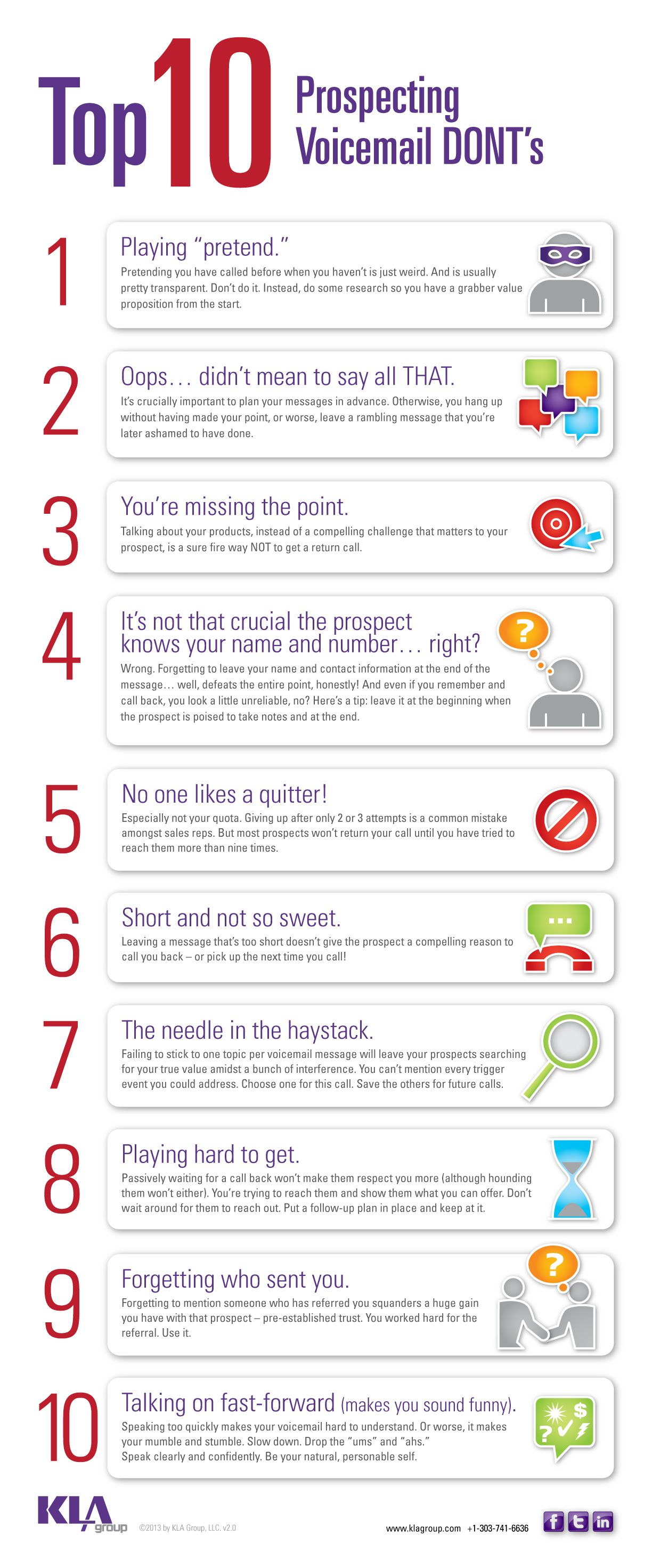 Top 10 Prospecting Voicemail Don Ts Infographic Sales